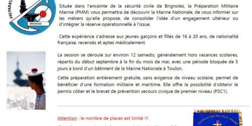 Préparation Militaire Marine de Brignoles – Session 2019-2020
