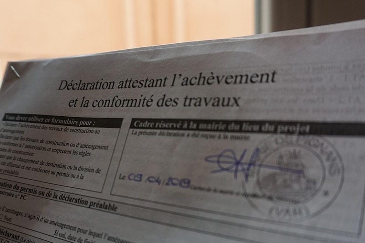 Déclaration attestant l'achèvement et la conformité des travaux (DAACT)