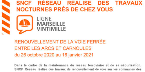 👷🚆[Travaux SNCF] Ligne Les Arcs – Carnoules du 26 oct. au 16 janv.