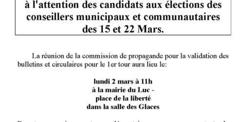 [Avis] commission de propagande pour la validation des bulletins – 2 mars 2020