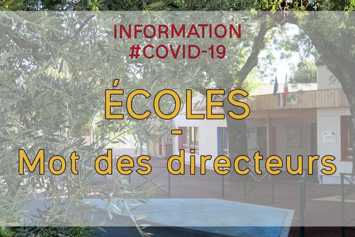 [Écoles] 23 avril 2020 : Message des directeurs d'écoles