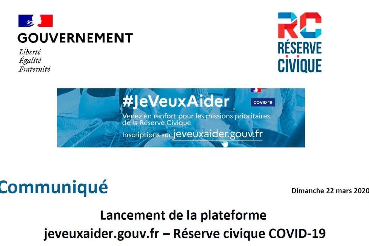 Réserve civique COVID-19 – Lancement de la plateforme jeveuxaider.gouv.fr
