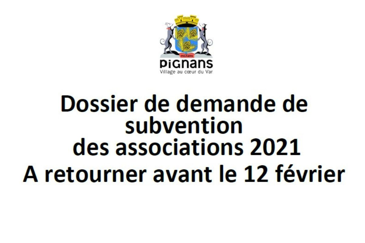 Dossier de demande de subvention des associations – 2021