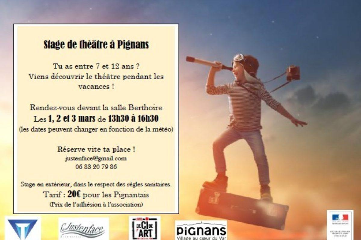 1, 2 et 3 Mars – Stage de théâtre à Pignans – Juste en face
