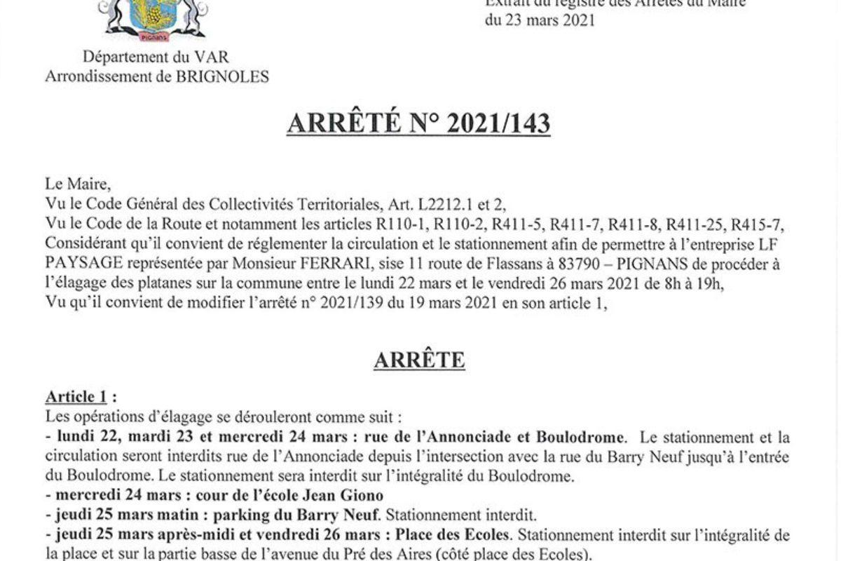 [Arrêté] Campagne d'élagage des platanes – Stationnement réglementé