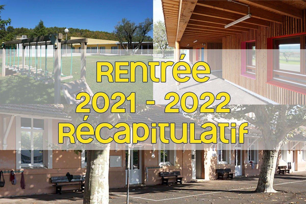 [Rentrée 2021-2022] Récapitulatif