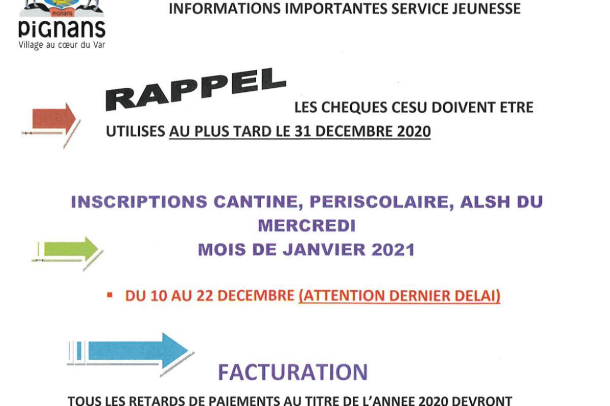 🚨[Rappel – Service Jeunesse] Informations importantes