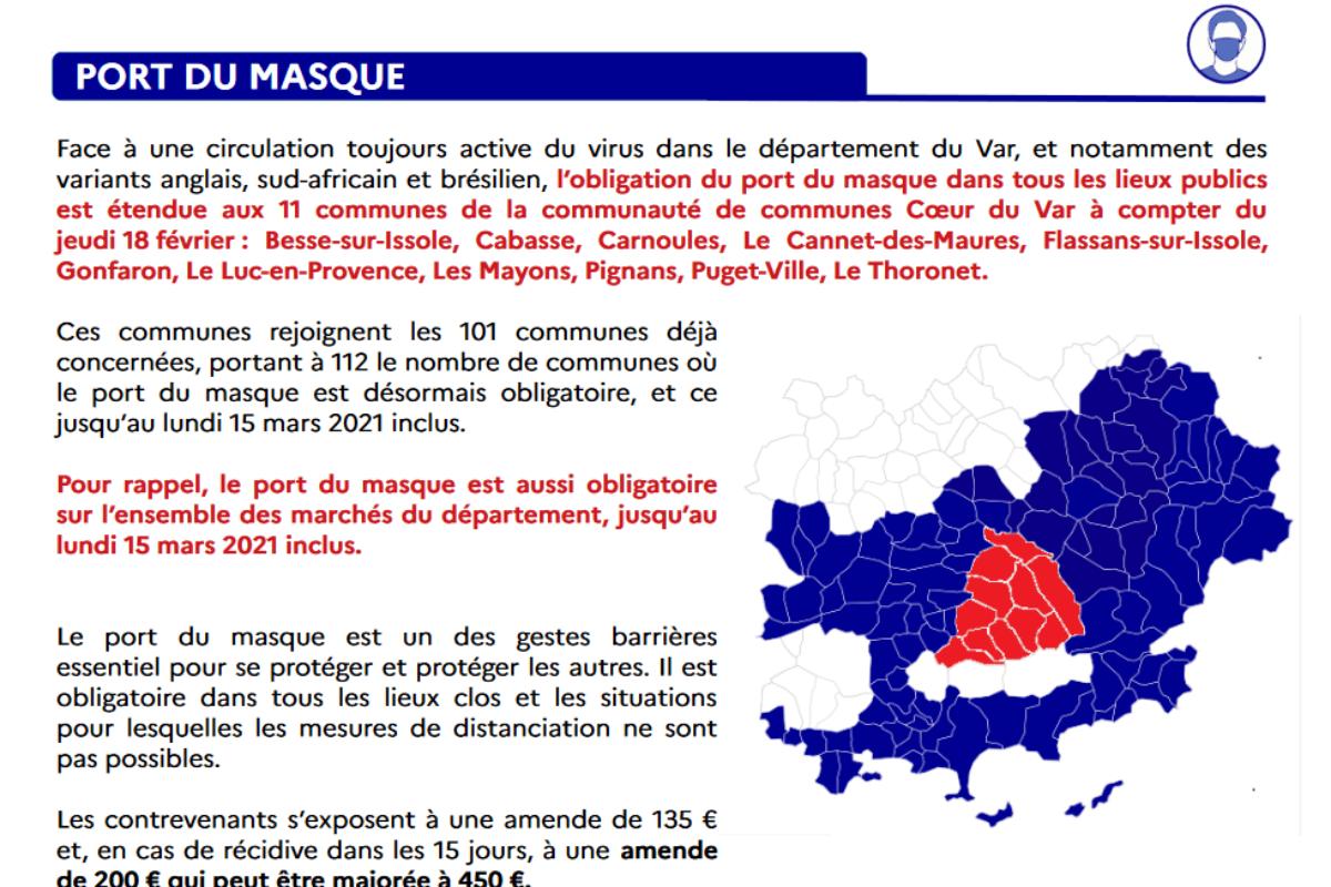 [Covid-19] Port du masque obligatoire étendu à tous les villages de Coeur du Var