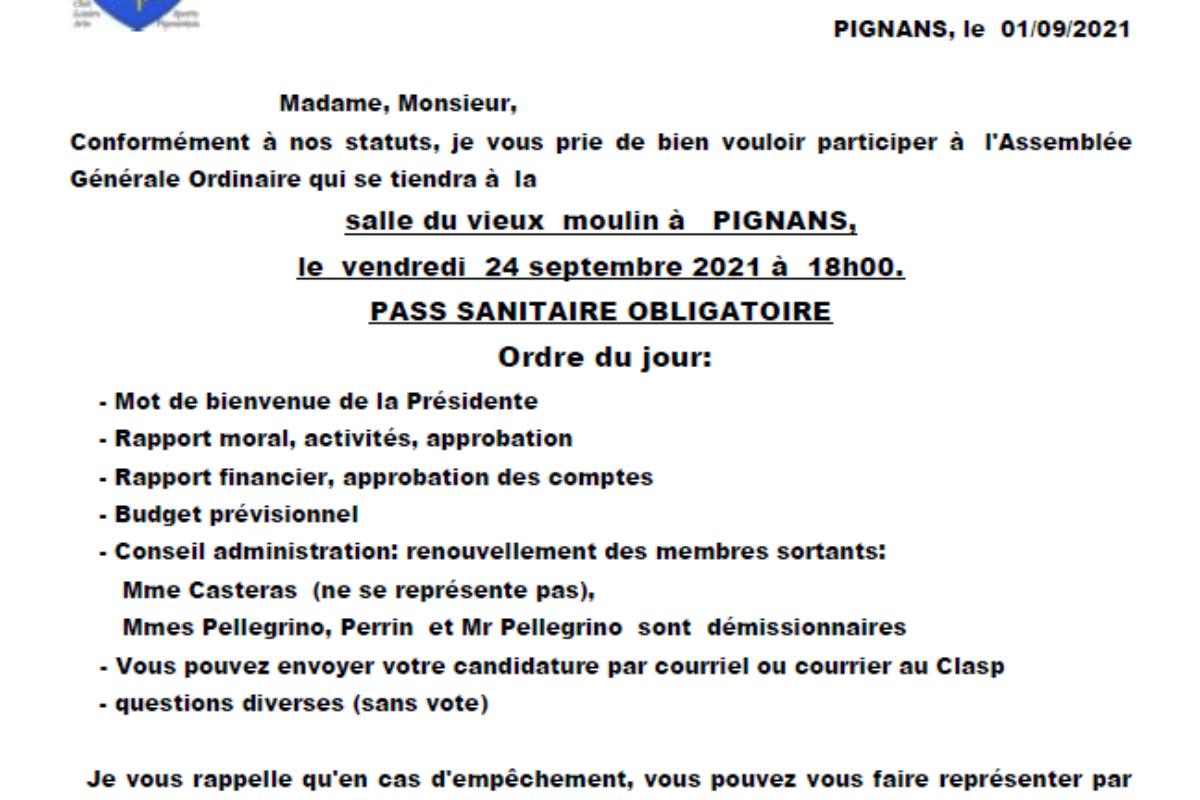 24 sept. – CLASP – Assemblée Générale
