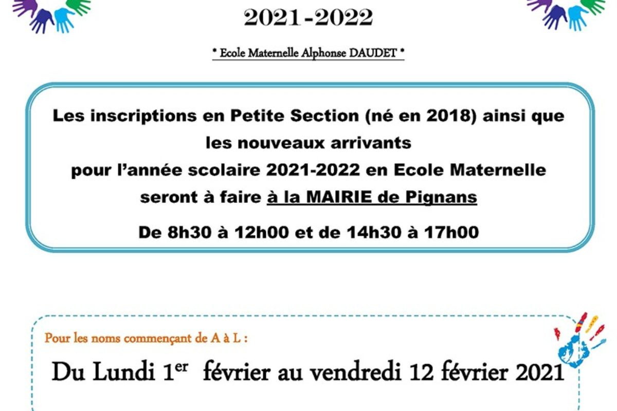 Inscriptions scolaires 2021-2022 – École Maternelle Alphonse Daudet