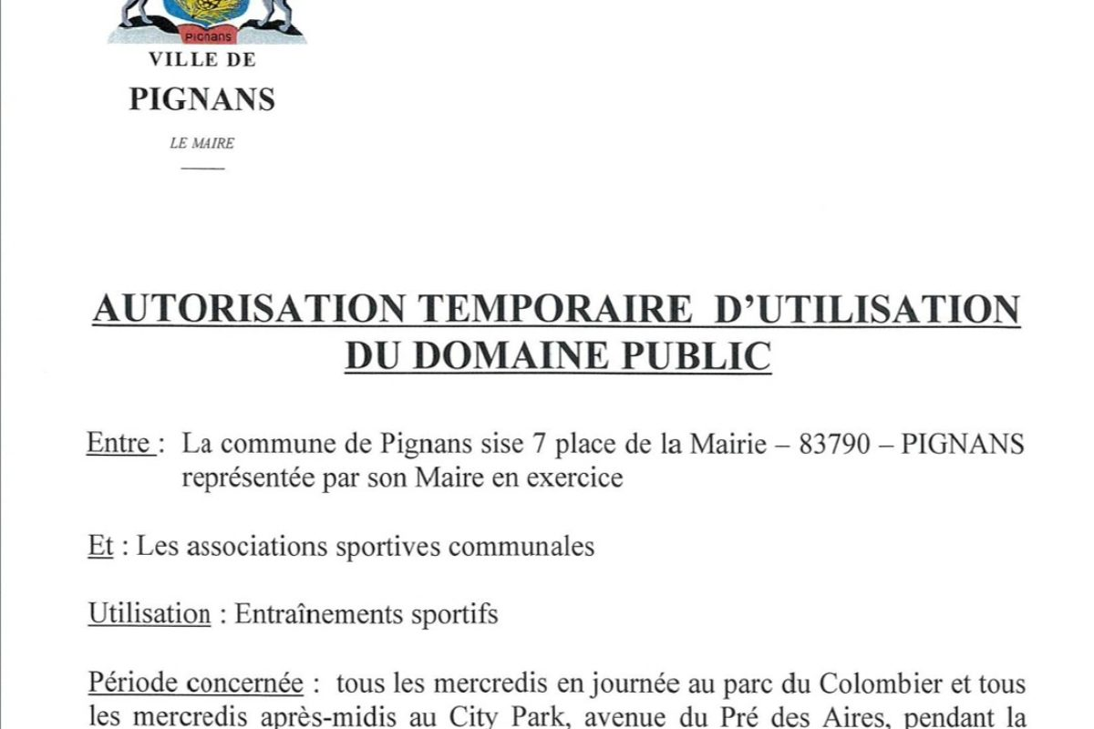 Autorisation temporaire d'utilisation du domaine public